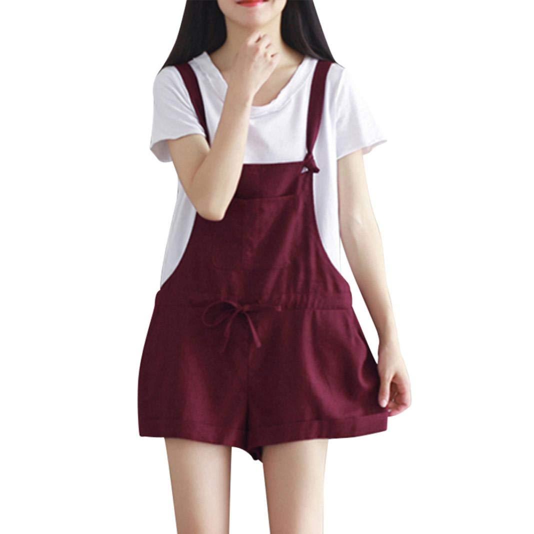 Spbamboo Women Sleeveless Dungarees Lace Up Cotton Shorts Playsuit Jumpsuit Pant