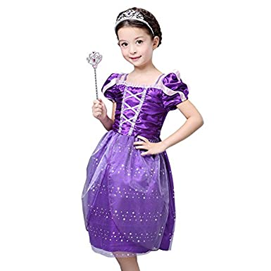 Princess Costume for 3-10 Years Girls When Rapunzel Party M FloweryOcean Toddler Tangled Dress Up XXL