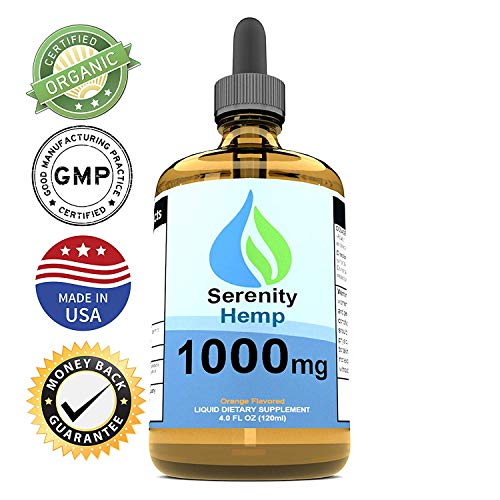 Serenity Hemp Oil - 4 fl oz 1000 mg Orange Flavored - Relief for Stress, Inflammation, Pain, Sleep, Anxiety, Depression, Nausea - Rich in Vitamin E, Vitamin B, Omega 3,6,9 - Hemp Little