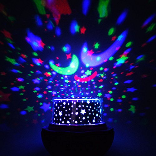 Multicolor Sky Moon Star Projector Light 360 Degree Rotation, Number One  LED Romantic Room Projection Lamp, Night Lighting Lamp, 4 Replaceable Films  For ...