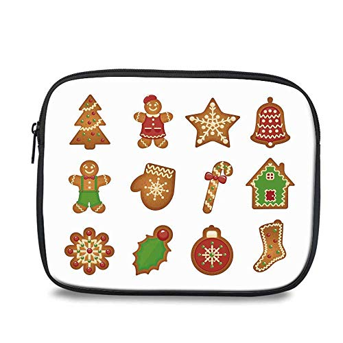 - Gingerbread Man Durable iPad Bag,Various Biscuits in Different Shapes Delicious Bakery Goodies for iPad,10.6