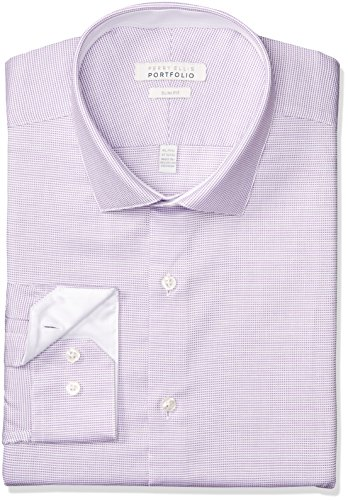 Perry Ellis Men's Slim Fit Performance Nailhead Dobby Dress Shirt, Bright Purple, 14.5 32/33 by Perry Ellis