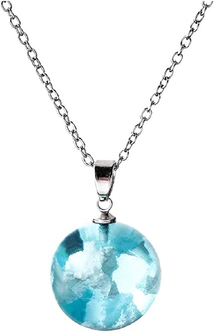 Transparent Box Glow In The Dark Luminous Necklace Jewelry Glass Ball Pendant