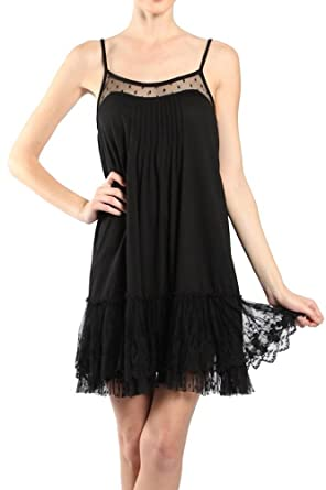 ae42a3030856 Ryu A'Reve Black Lace Trimmed Slip Dress Extender (Small) at Amazon ...