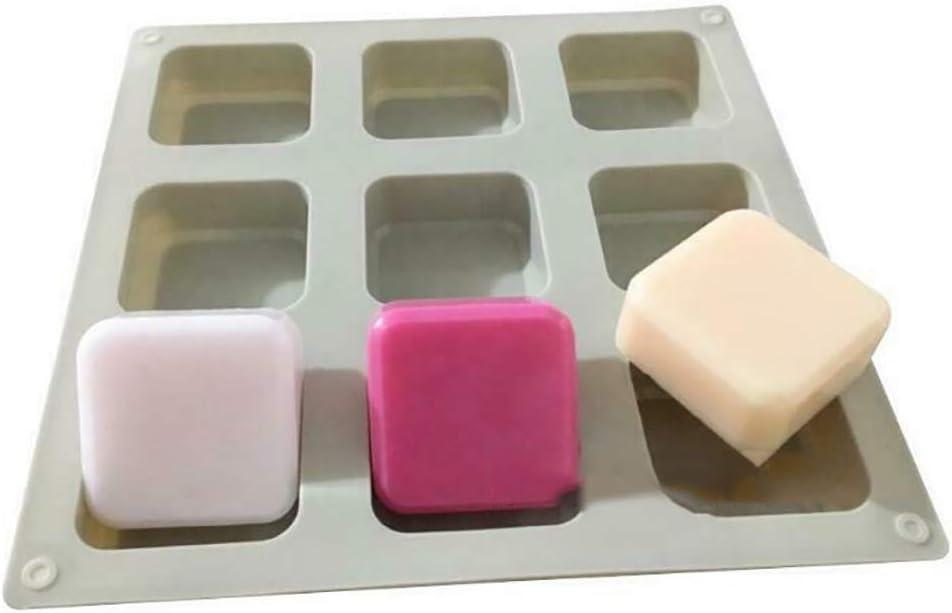 Loriver 9-Quadrat Seifenform Kuchenform Flexible Silikonform f/ür S/ü/ßigkeiten Seife Eisw/ürfelschale