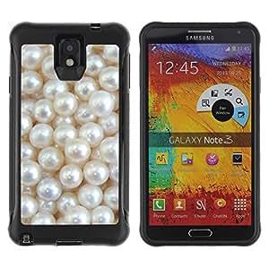 Fuerte Suave TPU GEL Caso Carcasa de Protección Funda para Samsung Note 3 / Business Style White Mother Of Glitter Shiny Bling