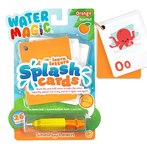 (Scent Masters Water Magic Splash Cards - Reusable Water Reveal Learning Activity - Orange Scented Animal Alphabet)