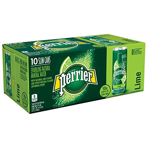 PERRIER Lime Flavored Sparkling Mineral Water, 8.45 fl oz. Slim Cans (Pack of 10)