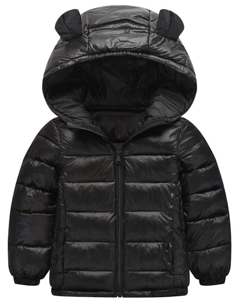 XiaoTianXinChildrenscostumes XTX Boy's Lightweight Winter Down Quilted Zip Hoodid Jacket Parka Coat Black 4T