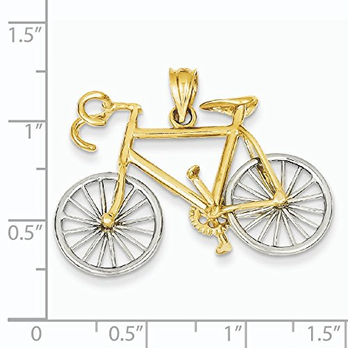 Large 14 carats-Bicolore-Pendentif Vélo 3D-Dimensions :  26 x 36 mm-JewelryWeb