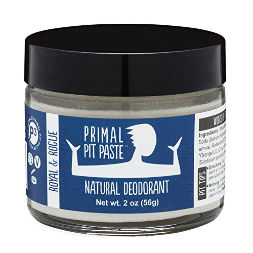 Primal Pit Paste All-Natural Royal & Rogue Deodorant | 2 Ounce Jar | Aluminum Free, Paraben Free | Made for Women and Men of All Ages | Non-GMO, Cruelty Free, Earth Friendly, BPA Free