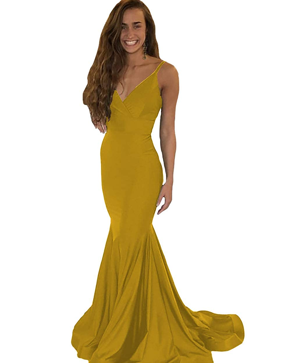 gold IVYPRECIOUS Women's V Neck Mermaid Long Backless Prom Dresses Evening Gowns