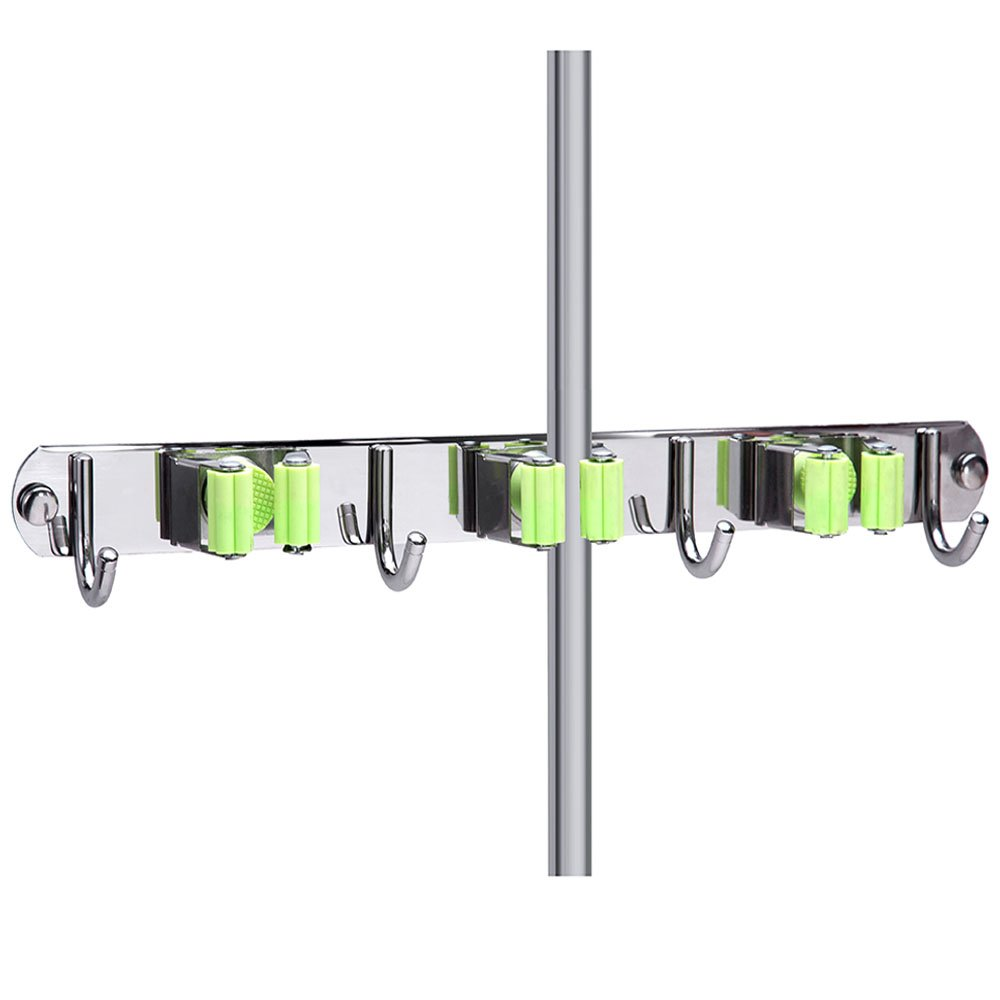 MUNTO Mop and Broom Holder Wall Mount, Stainless Steel Heavy Duty Broom Organizer, Screws or Self Adhesive Broom Hangers, Storage Solutions for Bathroom, Laundry Room, Basement