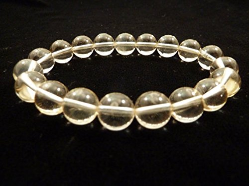 Citrine Stretch Bracelet 10mm Clear Round Smooth Gemstone Beads