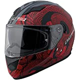 LS2 Stream Snake Full Face Motorcycle Helmet With Sunshield (Red/Black, Large)