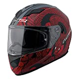 LS2 Stream Snake Full Face Motorcycle Helmet With Sunshield (Red/Black, X-Large)
