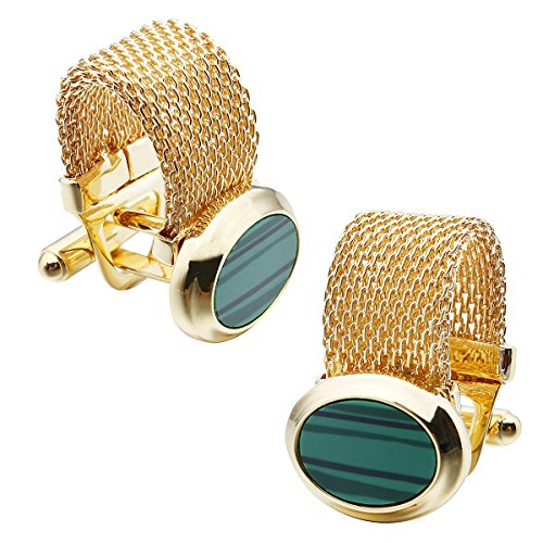 HAWSON Mens Cufflinks with Chain - Stone and Shiny Gold Tone Shirt Accessories - Party Gifts for Young Men (Cufflinks Chain Link)