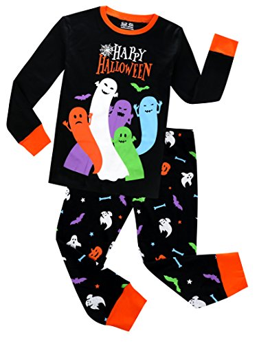 Pajamas for Boys Happy Halloween Ghost Sleepwear Children Long Sleeves Pants Set Size 7