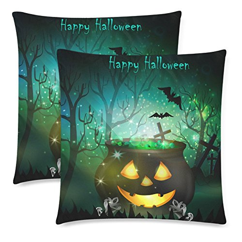 InterestPrint 2 Pack Halloween Witch Cauldron Throw Cushion Pillow Cover 18x18 Twin Sides, Happy Halloween Gift Zippered Pillow Case Pillowcase Set Shams Decorative