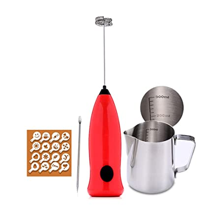 W&Z Espuma de Leche de Mano Espuma eléctrica Fabricante Leche espumoso Jarra café Barista Plantillas y