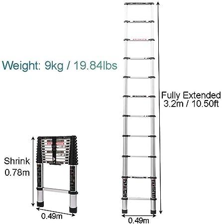 WaJaCg Escalera Recta Telescópica Escalera Alta 3.2M Extensión telescópica de Aluminio Extensión multipropósito de Escalera Tipo Loft Extienda la Escalera portátil Escalera Plegable Carga 150kg: Amazon.es: Hogar