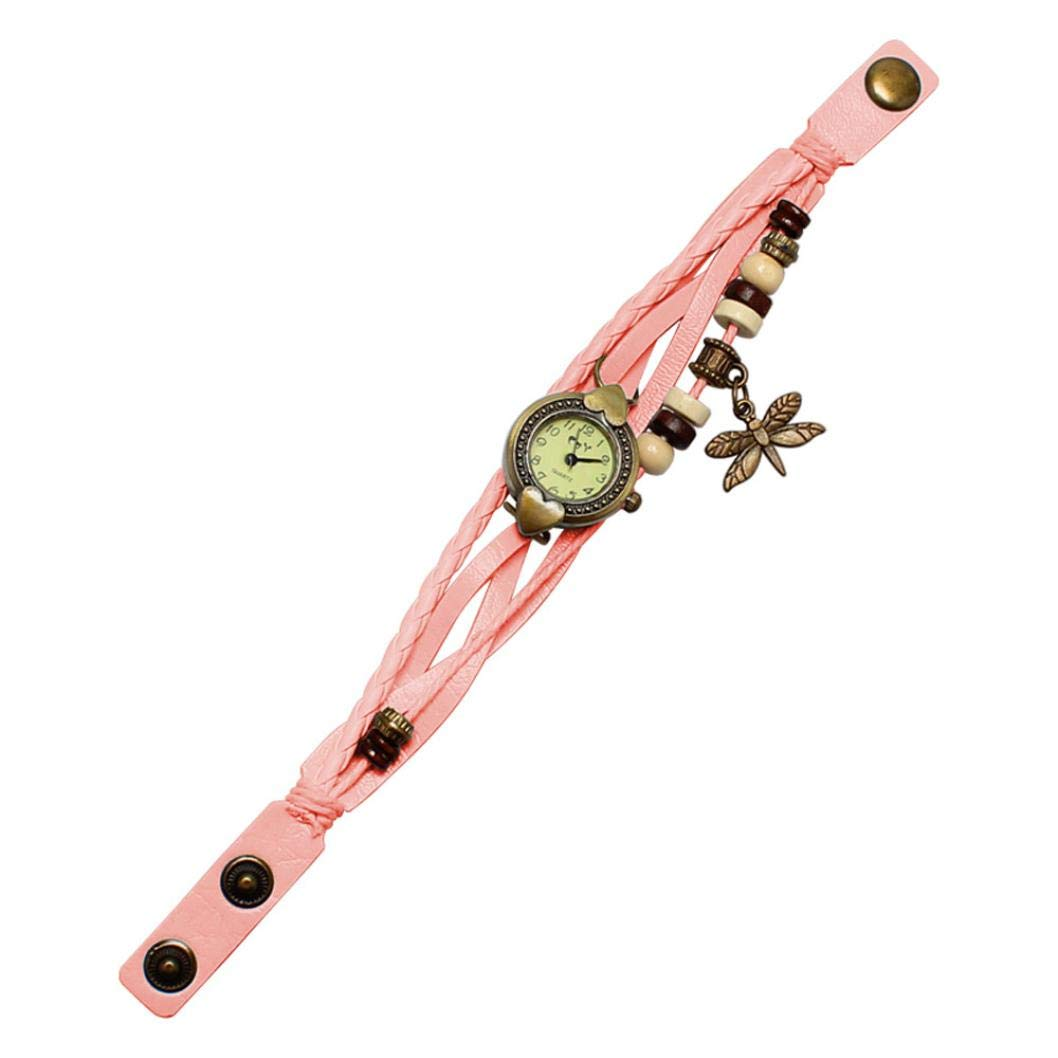Bracelet Watches for Girls, Iuhan Antique Dragonfly Woman Bracelet Hand Ring Wrist Watch Leather Layered Bracelet Watches Birthday Gift (Pink) by Iuhan  (Image #1)