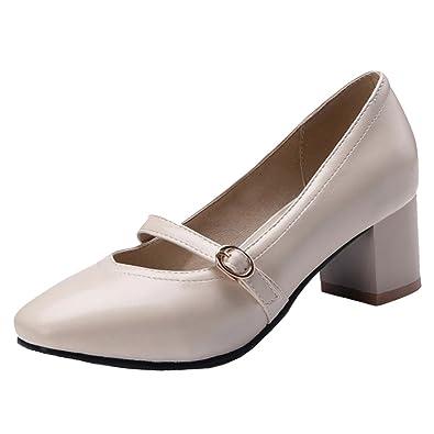 COOLCEPT Damen Mode Blockabsatz Pumps Mary Jane Schuhe Beige Size 40 Asian 1Mgye7UM