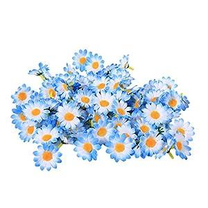 300PCS Artificial Gerbera Daisy Fabric Flower Head Wedding Party DIY Decoration Craft(Sky blue) 32