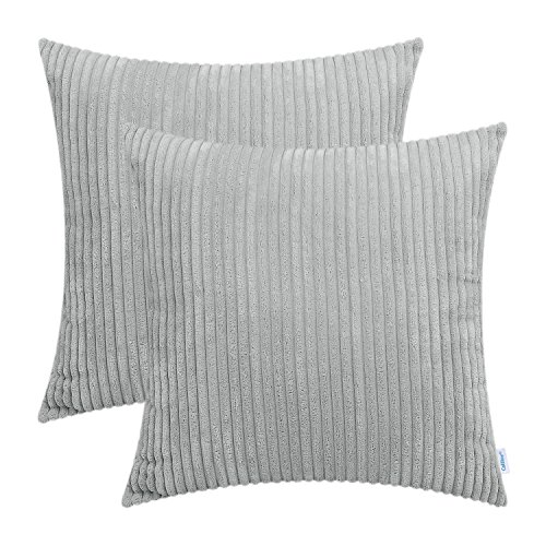 CaliTime Pack of 2 Cozy Throw Pillow Covers Cases for Couch Sofa Bed Comfortable Supersoft Solid Corduroy Striped Both Sides 18 X 18 inches Light Gray (Striped Couch)