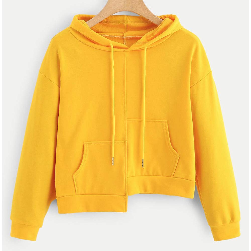 Toraway- Fashion Hoodies Crop Top Sweatshirts Pullover for Teen Girls Irregular Pocket Lightweight Jumper Tops Blouse at Amazon Womens Clothing store: