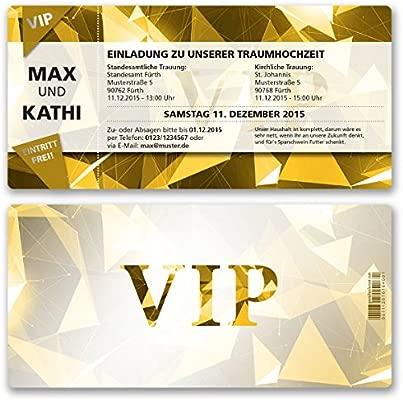 Boda Invitaciones Tarjetas Vip Party Inoxidable Oro Ticket