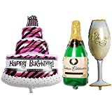 TRIXES Set of 3 Large Birthday Party Balloons Cake Champagne Bottle and Glass Shape