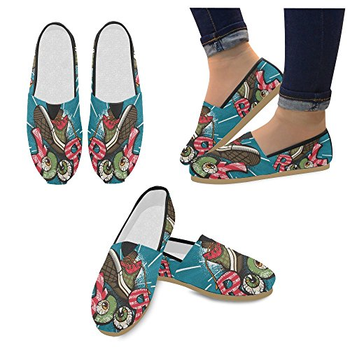 InterestPrint Rock and Roll music hipster Loafers Casual Shoes for Women Grunge Rock