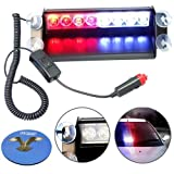 HQRP 8 LED Car / Truck Visor Dashboard Dash Deck Emergency Strobe Lights for Warning 12V 4 Blue plus 4 Red LEDs plus HQRP Coaster