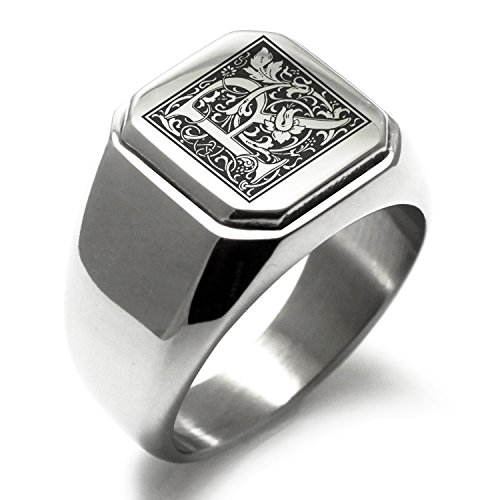 Stainless Steel Letter R Alphabet Initial Floral Box Monogram Square Flat Top Biker Style Polished Ring, Size 11