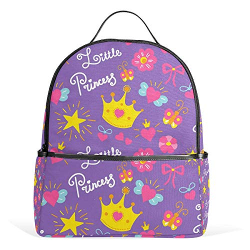 Purple Princess Crown Stars School Chic Backpack Canvas Rucksack Large Capacity Satchel Casual Travel Daypack for Kids Girls Boys Children Students, 3-9 Years Old