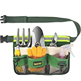 FASITE YL003F 7-POCKET Gardening Tools Belt Bags Garden Waist Bag Hanging Pouch, Green