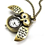 Enjoydeal Cute Antique Chain Necklace Night Owl Pattern Pocket Locket Watch Quartz Numerals Clock