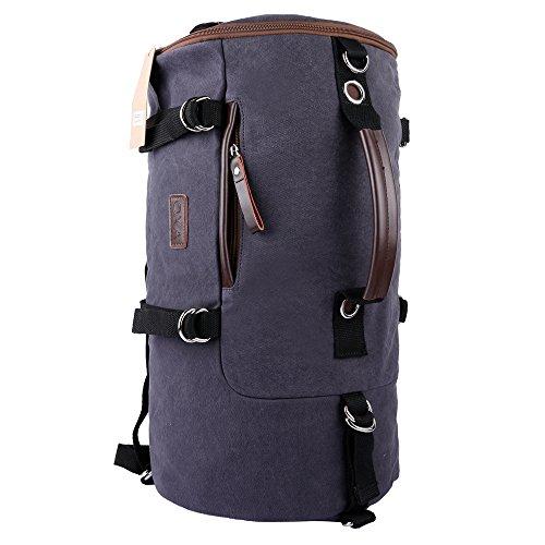 OXA Cylinder Canvas Backpack Computer Laptop Daypack Rucksack Gym Sports Hiking Travel School Satchel Book Shoulder Bag Duffel Bags Gray