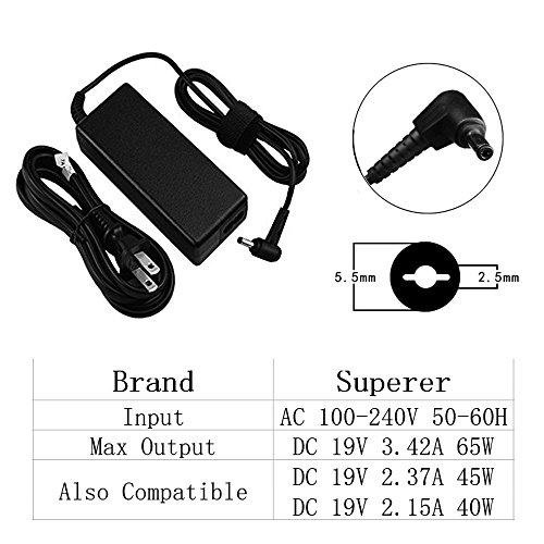 AC Charger Compatible Toshiba Satellite L645 L645D L655 L655D L670 L670D L675 L675D L735 L735D L740 L745 L745D L75 L750 L750D L755 L755D L855 L955 L955D Laptop Adapter Power Supply with 5Ft Cord by Superer (Image #2)