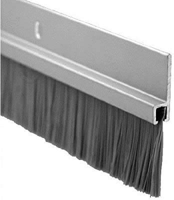 """Pemko Door Bottom Sweep, Clear Anodized Aluminum with 1"""" Gray Nylon Brush insert, 0.25""""W x 1.875"""" H x 36"""" L"""
