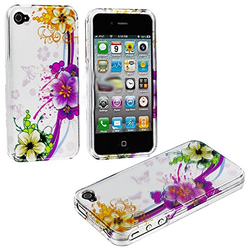 myLife (TM) Colorful Tropical Flower Chain Series (2 Piece Snap On) Hardshell Plates Case for the iPhone 4/4S (4G) 4th Generation Touch Phone (Clip Fitted Front and Back Solid Cover Case + Rubberized Tough Armor Skin)