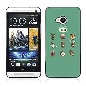 Carcasa Funda Case // V0000522 Forest Animals Set// HTC ONE M7