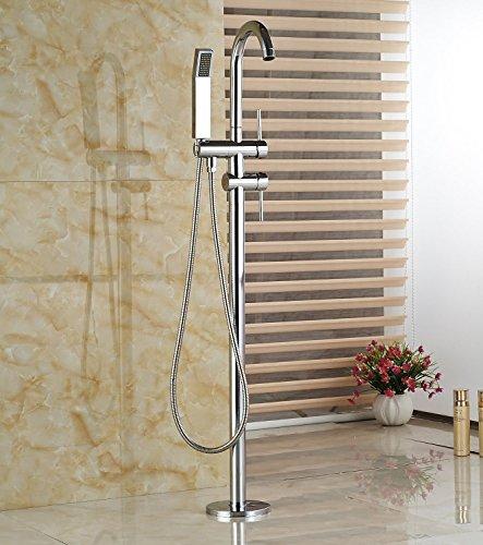 Votamuta Polished Chrome Brass Bathroom Floor Mount Bathtub Faucet with ABS Plastic Handshower Free Standing Tub Filler Tap by Votamuta (Image #5)