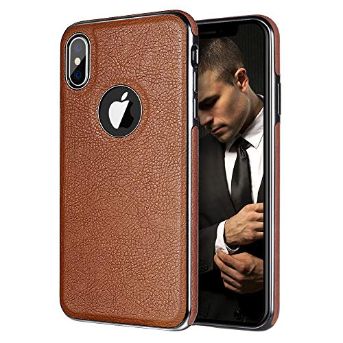 iPhone X Case, iPhone 10 Leather Cover MIRACASE Luxury Stylish Sleeves Ultra Slim & Thin Soft TPU Bumper Anti-Slip Scratch Resistant Shockproof Shell for Men, Brown