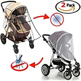 Universal Stroller Rain Cover - Baby Mosquito Net (2-Pieces Set) Waterproof, Windproof Protection Stroller Weather Shield Food Grade Plastics Rain Cover