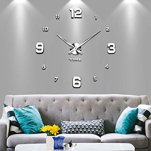 Vangold Modern Mute DIY Frameless Large Wall Clock 3d Mirror