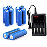 WishDeal 5000 mAh 3.7v Rechargeable Battery For Flashlight Button Top Battery + Four Slot Lithium Battery Charger