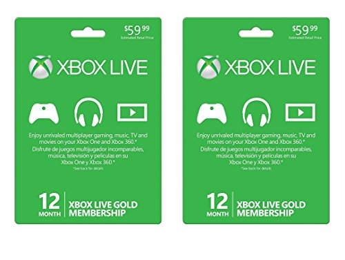 2-PACK Xbox LIVE 12 Month Gold Membership Card Subscription - NEW!