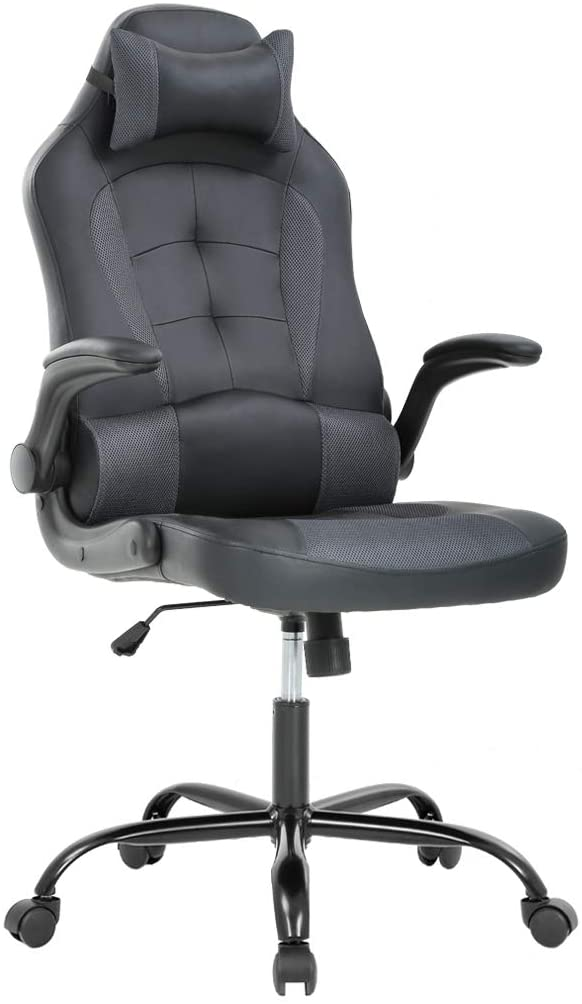 Gaming Chair Office High-Back PU Leather Racing Chair Reclining Computer Executive Desk Chair with Lumbar Support Adjustable Arms Rolling Swivel Chair for Women, Men(Grey)